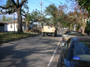 The military patrols in front of my house after Hurricane Katrina:  Hummers, guns, and soldiers
