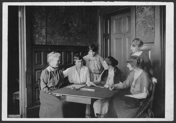 Mrs. Lawrence Lewis, Mrs. Abby Scott Baker, Anita Pollitzer, Alice Paul, Florence Boeckel, Mabel Vernon (standing)