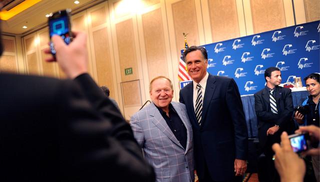Mitt Romney with billionaire donor Sheldon Adelson