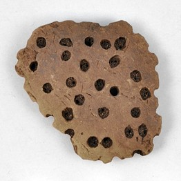 A fragment of a sieve that researchers say were used as cheese strainers.