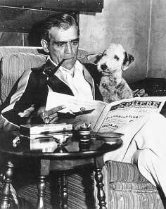 Boris Karloff reads with friend