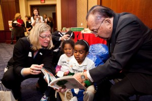 Sen. Dan Inouye reads with children