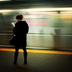 subway woman reading