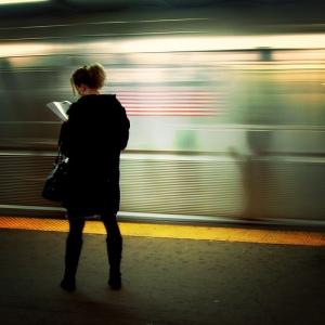 subway woman reading