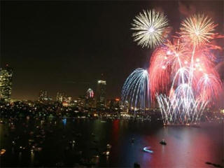 First Night fireworks against the Boston skyline