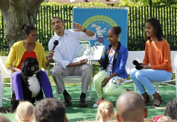 "U.S. President Obama reads ""Where the Wild Things Are"" alongside first family during White House Easter Egg Roll in Washington"