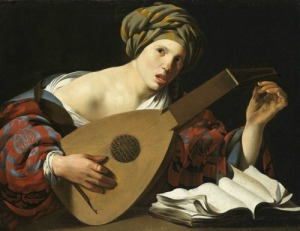 woman tuning a lute