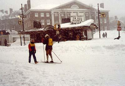 Massachusetts Avenue in Harvard Square, Feb. 7, 1978