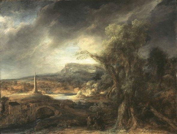 """Govaert Flinck, """"Landscape with Obelisk"""""""