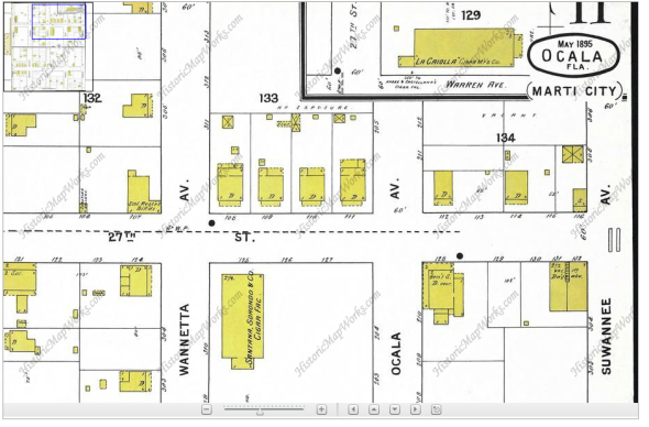 Sanborn Fire Insurance Map of 1895, Ocala FL, Marti City. My great-great grandfather's cigar factory is on the bottom left corner.