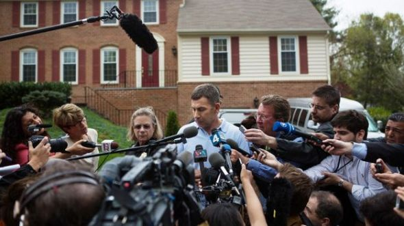 """Uncle"" Ruslan Tsarni speaking to the media in front of his home in Montgomery Village, MD"
