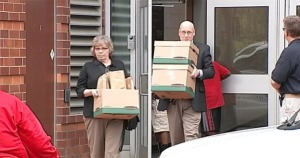 Investigators leaving Steubenville High School on Thursday with documents, servers, and computers (Atlantic Wire)