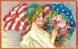 Flag-Flower-Vintage-Post-Card