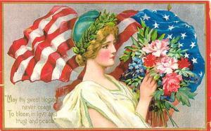 Flag-Flower-Vintage-Post-Card