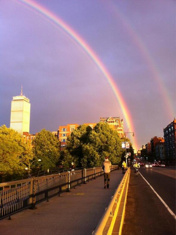Double rainbow over Boston, evening of June 12, 2013