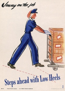 Jenny on the Job plays it safe with low heels. New in WWII Posters collection. (via Jenny on the Job Steps Ahead with Low Heals | Vintagraph)