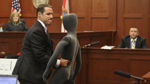Prosecutor John Guy with dummy