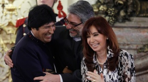 Bolivian officials laughing hysterically at the media for buying their tall tale