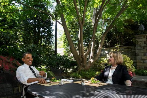 Barack Obama and Hillary Clinton have lunch at the White House, July 29, 2013