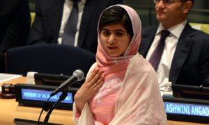 Malala Yousafzai addresses the UN