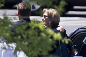 Hillary Clinton arrives for lunch at the White House, July 29, 2013.