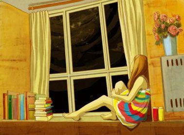 Libros y estrellas para soñar (ilustración de lonejane)