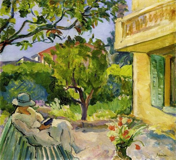 Madame_Lebasque_Reading_in_the_Garden_by_Henri_Lebasque
