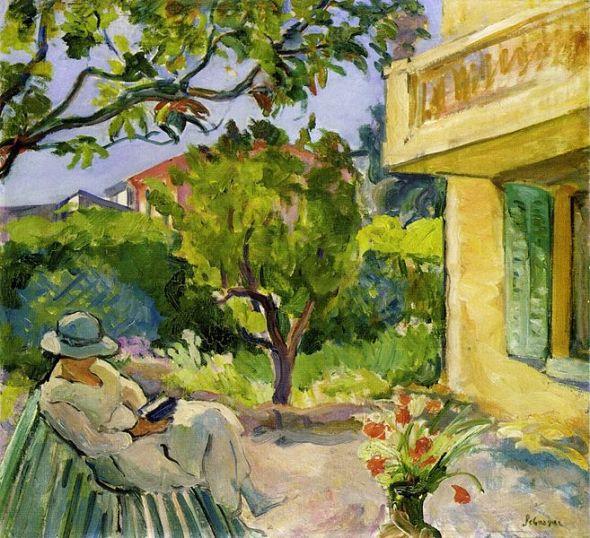 Madame_Lebasque_Reading_in_the_Garden_by_Henri_Lebasque