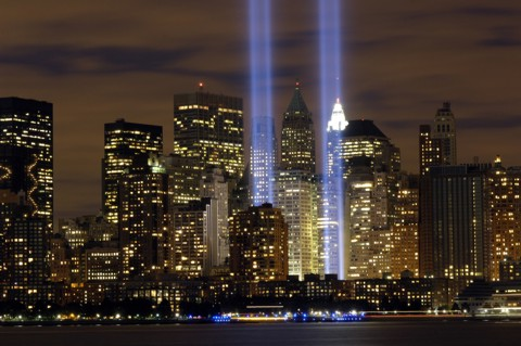 """The """"Tribute in Light"""" memorial is in remembrance of the events of September 11, 2001, in honor of the citizens who lost their lives in the World Trade Center attacks.  The two towers of light are composed of two banks of high wattage spotlights that point straight up from a lot next to Ground Zero. The ÒTribute in LightÓ memorial was first held in March 2002. This photo was taken from Liberty State Park, New Jersey on September11, 2006, the five year anniversary of 9/11. USAF photo by Denise Gould."""