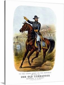 vintage-civil-war-poster-of-general-ulysses-s-grant-on-horseback,1158009