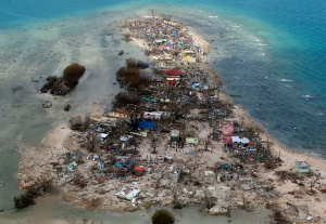 An aerial view of a coastal town in Samar province on Monday, Nov. 11. (REUTERS/Erik De Castro)
