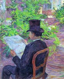 desire-dehau-reading-a-newspaper-in-the-garden-Toulouse Lautrec