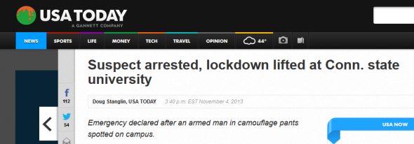 Suspect arrested, lockdown lifted at Conn. state university 2013-11-04 19-38-41