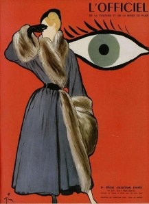 Fur lined coat by Christian Dior, illustrated by Rene Gruau, Sept. 1947