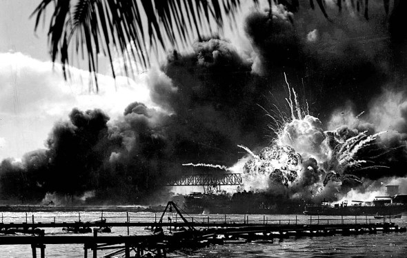 Dec. 7, 1941: The destroyer Shaw's forward magazine explodes after being struck during the Japanese attack on Pearl Harbor (LA Times).