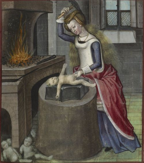 British Library, Harley 4425, f. 140 'Nature forging a baby'. Guillaume de Lorris and Jean de Meun, Roman de la Rose. Bruges, c.1490-c.1500.