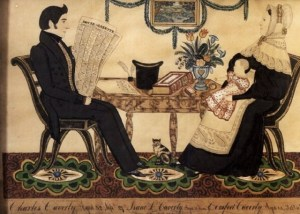 Jospeh H Davis (American artist, 1811-1865) Charles & Comfort Caverly & Son Isaac 1836 Cat, Top Hat, Newspaper,  Painted Table, Patterned Carpet