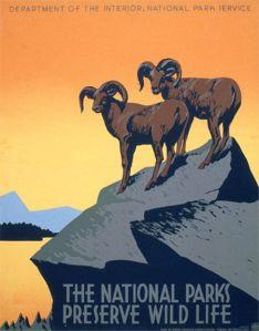 wpa_poster_national_parks_bighorn_sheep_art_deco