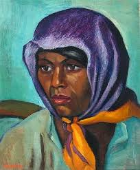 (1928), Maggie Laubser Colored Woman With a Purple Headscarf