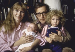 Mia Farrow and Woody Allen with adopted children Satchel and Dylan