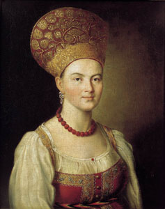 Ivan Argunov painting of woman wearing a kokoshnik