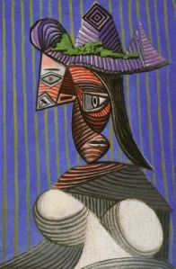 Pablo Picasso Bust of a Woman Wearing a Striped Hat