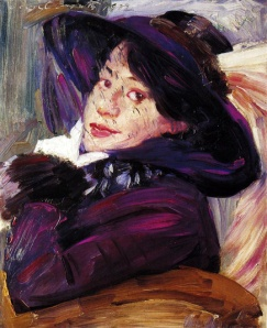 Portrait of a woman in a purple hat 1912 Lovis Corinth