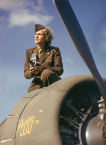 Photographer Margaret Bourke-White with the U.S. Bomber Command in England, 1942.