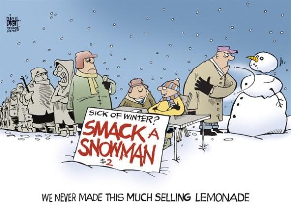 sick of winter smack a snowman
