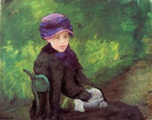 Susan Seated Outdoors, Wearing a Purple Hat Mary Cassat oil on canvas, ca. 1881