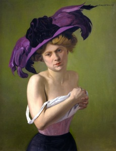 vt 1907 Félix Edouard Vallotton (Swiss artist, 1865-1925) The Purple Hat