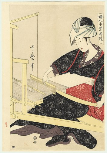 Weaving on a Loom by Utamaro Kitagawa (1753-1806)