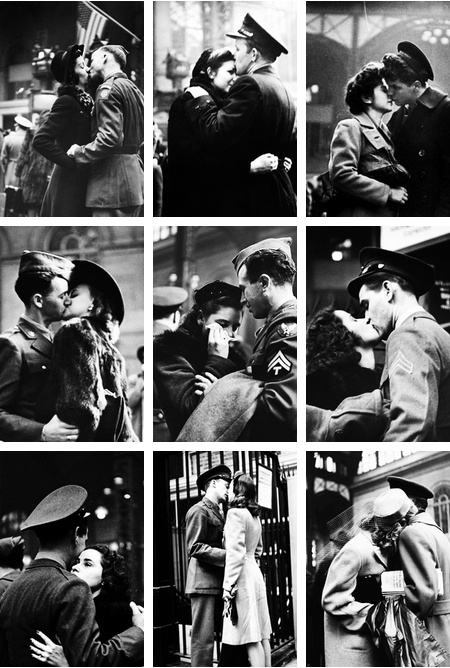 Soldiers say their farewells at Pennsylvania Station New York,1943. Photographed by Alfred Eisenstaedt