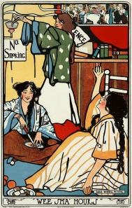 "74cb4b182daf0bf92d9667780e82387c WILD CO-EDS -- Sadie Wendell Mitchell ""Wee Sma' Hours"", 1909 Poster showing three women cooking and eating in a (college dorm) bedroom, displaying ""No Smoking"" and ""Silence"" si"